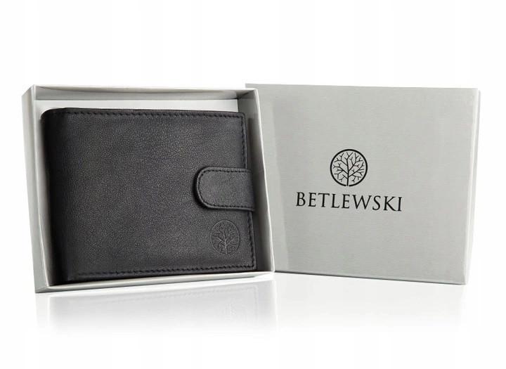 Чоловічий шкіряний гаманець Betlewski з RFID 9,5 х 12,5 х 2 (ТРМ-KZ-60) - чорний