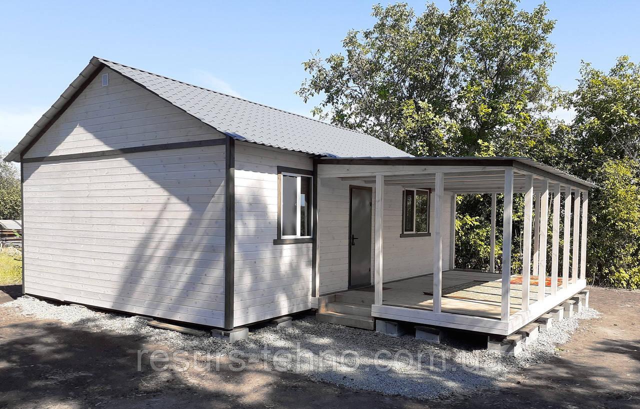 Домик дачный сборный 9м х 6м с терассой, отделка фальшбрусом