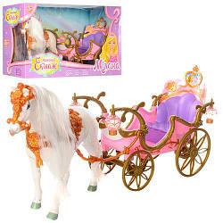 Карета 209B (6шт) 50см, свет, лошадь-ходит, звук, на бат-ке, в кор-ке, 55,5-30,5-19см