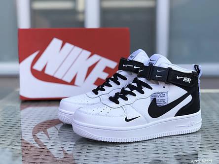 Кроссовки мужские Nike Air Force AF 1,белые с черным, фото 2