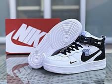 Кроссовки мужские Nike Air Force AF 1,белые с черным, фото 3
