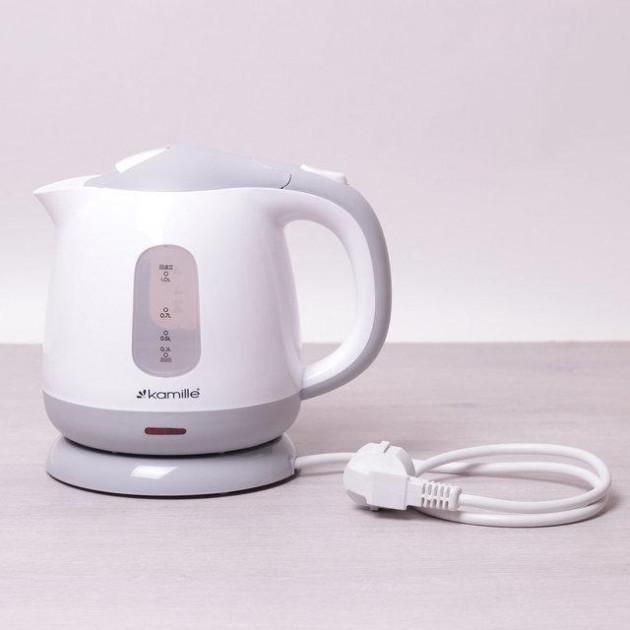 Компактный на 1 л электрический чайник KamilleKM-1719B пластиковый