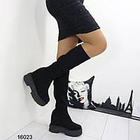 Сапоги женские черные 16023