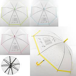 Зонтик MK 3611 (60шт) длина75см,трость67см,диам.91см,спица52см,клеенка,рисун,прозрач,4цв, в кульке