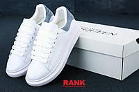 Кроссовки женские Alexander McQueen в стиле Александр Маккуин, белые серым
