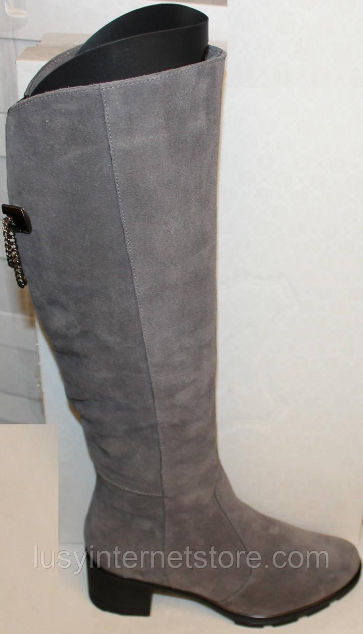 Сапоги серые женские зимние замшевые на каблуке от производителя модель БМ763-3