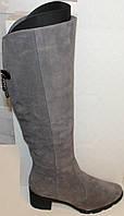 Сапоги серые женские зимние замшевые на каблуке от производителя модель БМ763-3, фото 1