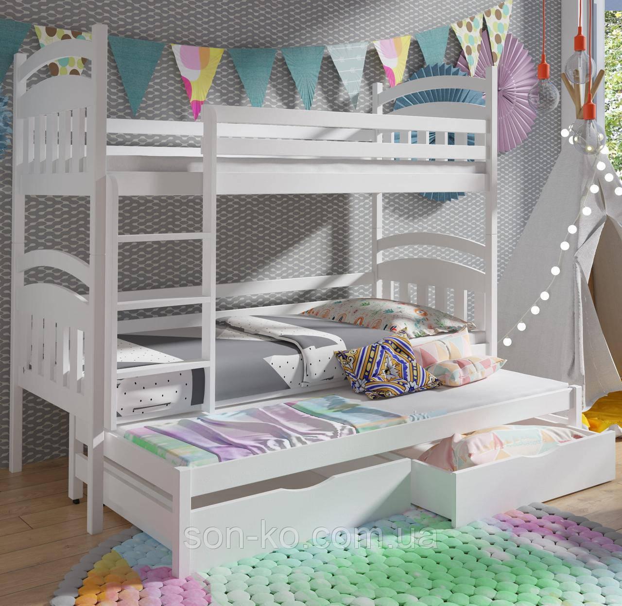 Ліжко триярусне Денис в білому кольорі