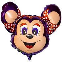 Фольгированный шар Мышка с ободком 29см х 37см Фиолетовый