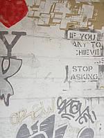 """Флизелиновые обои Decoprint WU20655 What""""s up молодежные модерн под кирпич надписи граффити серые красные"""