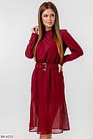 Платье длины миди с шифоном и поясом арт 021