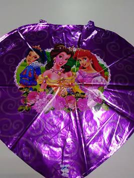 Воздушный шарик фольгированный сердце с рисунком принцессы 1шт