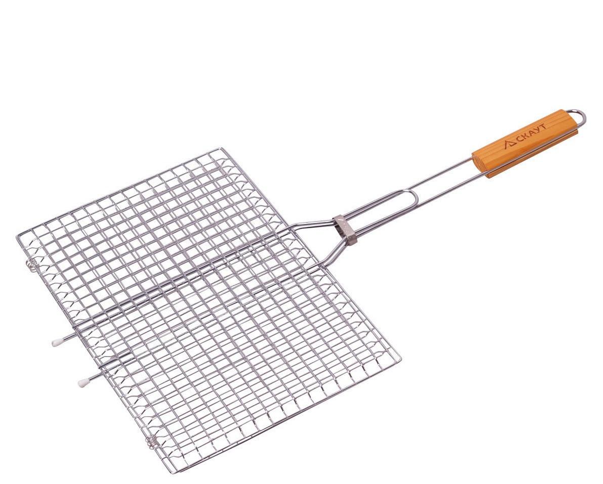Решетка для овощей 40*26*2 смхромированная с деревянной ручкой