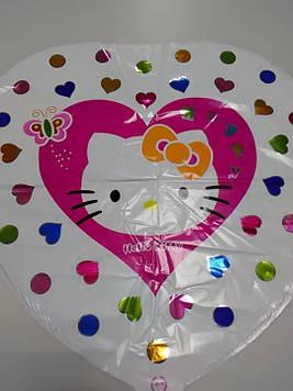 Воздушный шарик фольгированный сердце с рисунком китти 1шт