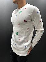 Свитер мужской белый светлый с буквами с надписями с принтом тигр осенний модный свитшот мужской белый