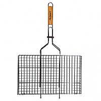 Решетка для гриля и барбекю 45*26*2 см прямоугольная хромированная сталь деревянная ручка