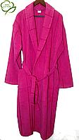 Махровый женский халат. большого размера  малиновый, 100% Хлопок Турция