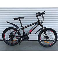 """Детский спортивный велосипед TopRider 20""""металлическая рама12""""черно-красный 21скоростной от 5лет рост от 115см"""
