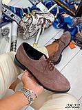 Женские туфли на шнурках из натуральной кожи с перфорацией черные, красные, капучино, синие, фото 2