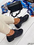 Женские туфли на шнурках из натуральной кожи с перфорацией черные, красные, капучино, синие, фото 4