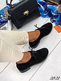 Женские туфли на шнурках из натуральной кожи с перфорацией черные, красные, капучино, синие, фото 5