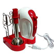 Ручной кухонный миксер Wimpex WX 434 с подставкой | ручной мини комбайн (300W, 5 скоростей), фото 3