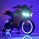 Дитячий електромобіль Мотоцикл M 4104 ELS-11, EVA колеса, LED підсвічування, сірий лак, фото 7