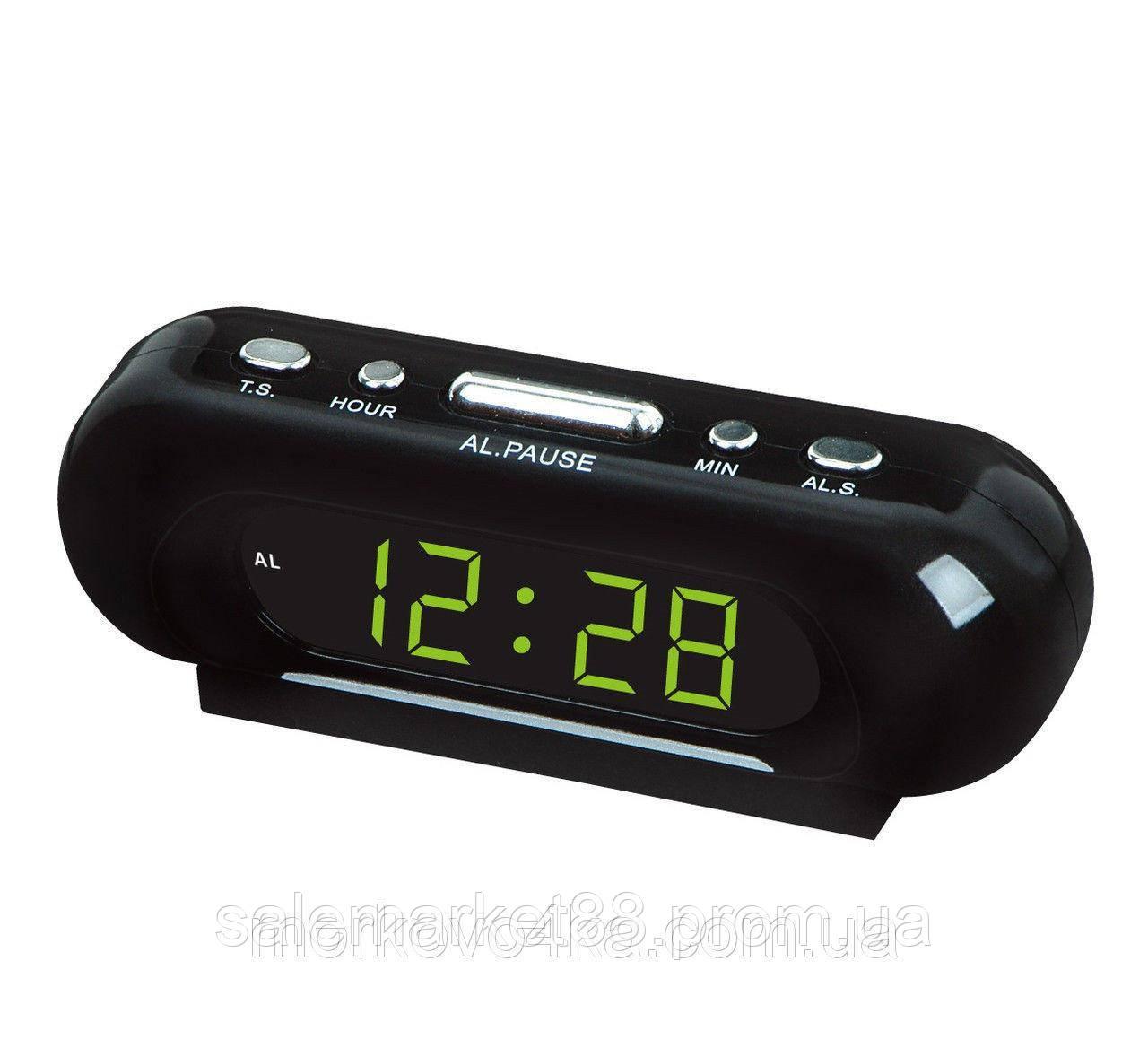 Часы VST-716-2 настольные 220В будильник Черный корпус Светло зеленые цифры