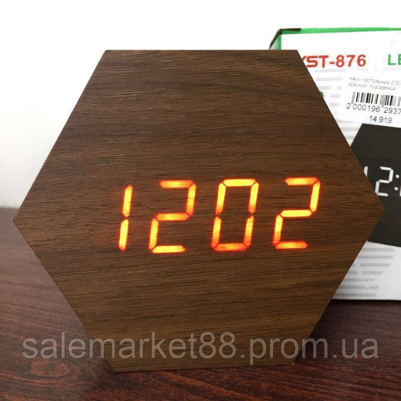Настольные часы от сети+батарейка VST-876