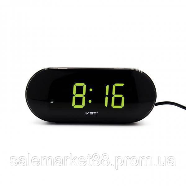 Цифровые настольные часы с большим зеленым циферблатом от сети VST-717
