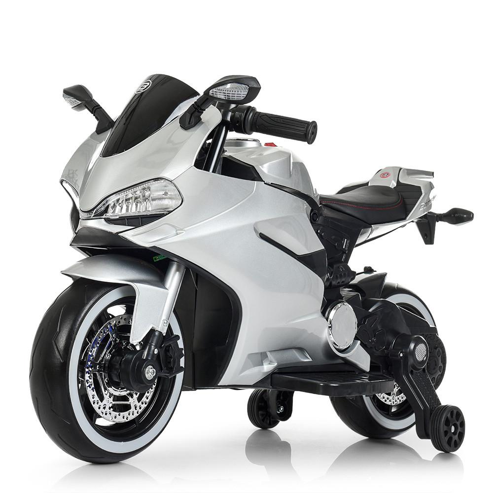 Дитячий електромобіль Мотоцикл M 4104 ELS-11, EVA колеса, LED підсвічування, сірий лак