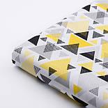 """Ткань хлопковая """"Треугольники с перфорацией"""" жёлто-чёрные на белом, №2444, фото 5"""