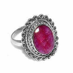 Серебряное кольцо с рубином, 14*10 мм., 2020КЦР