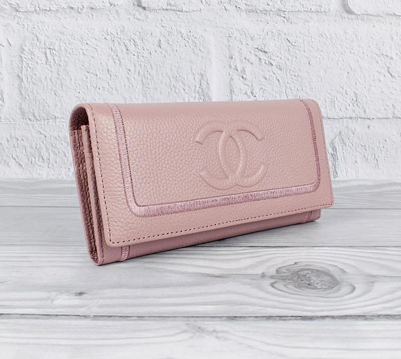 Кошелек кожаный женский на кнопке розовый 9303