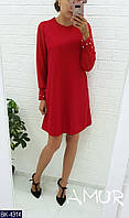 Молодежное платье с легким шифоном и бусинками на манжетах арт 518