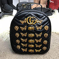 Gucci Backpack GG Marmont Animal Studs Black
