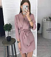 Платье женское Пиджак на запах пудровое