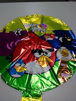 Воздушный фольгированный шарик с рисунком энгри бердц 1шт