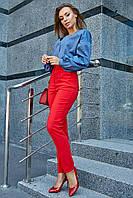 Женские классические брюки, красные, повседневные, молодёжные, элегантные, офисные