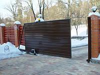 Откатные ворота горизонтальная зашивка. пгт. Козин