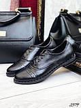 Женские туфли на шнурках из натуральной кожи с перфорацией черные,, фото 4