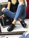 Женские туфли на шнурках из натуральной кожи с перфорацией черные,, фото 5