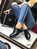 Женские туфли на шнурках из натуральной кожи с перфорацией черные,, фото 6