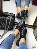 Женские туфли на шнурках из натуральной кожи с перфорацией черные,, фото 2