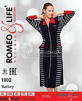 Женский велюровый халат на молнии Romeo&Life (большие размеры) № RL-1002