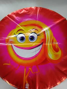 Воздушный фольгированный шарик с рисунком эмоджи 1шт