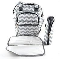 Органайзер - рюкзак для прогулки с ребенком с термобоксом для бутылочки и пеленкой Серо-белый