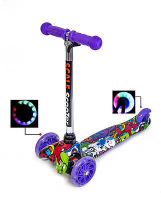 Самокат триколісний дитячий Мікро Міні Graffity Violet, що світяться колеса