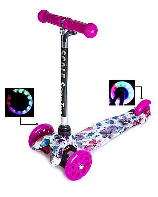 """Самокат триколісний Mini Scooter """"Маки"""" для дівчинки"""