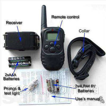 Электронный ошейник для собаки с пультом дресировочный вибро+эл.стат.разряд LED подсветка пульт ДУ 100 уровней